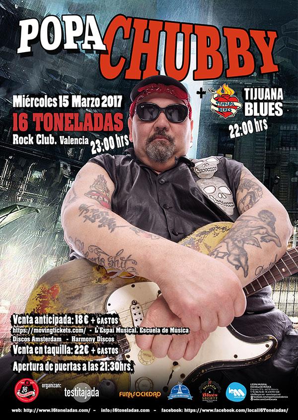 Popa Chubby + Tijuana Blues en 16 Toneladas Rock Club de Valencia